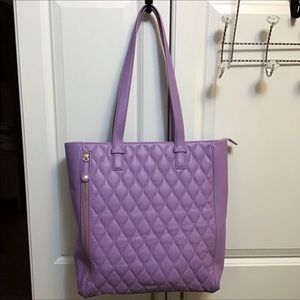 Vera Bradley Quilted Leather Leah Tote Lav…